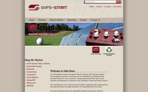 Screenshot of Home Page safe-start.com - Trojan Battery Distributor, Golf Cart Batteries   Safe-Start - captured Sept. 30, 2014