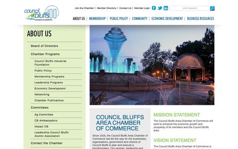 Screenshot of About Page councilbluffsiowa.com - Council Bluffs Area Chamber of Commerce - captured Nov. 13, 2016