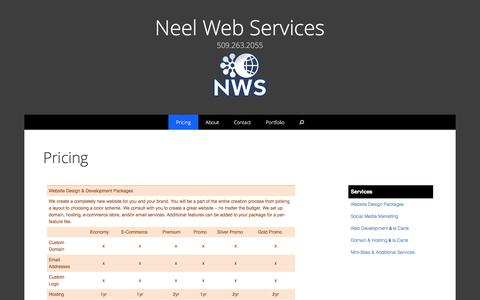Screenshot of Pricing Page neelwebservices.com - Pricing | Neel Web Services - captured Jan. 10, 2016