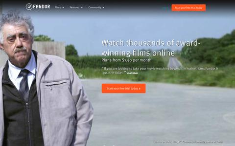 Screenshot of Home Page fandor.com - Watch Movies and Documentary Films Anywhere You Want | Fandor - captured Feb. 15, 2016