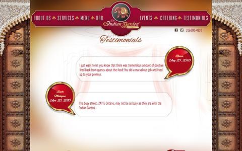 Screenshot of Testimonials Page indiangardenchicago.com - Indian Garden - captured Sept. 30, 2014