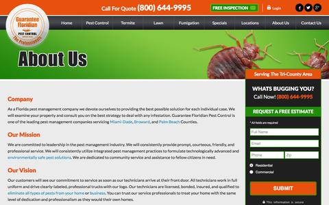 Screenshot of About Page guaranteepest.com - About Us - Guarantee Floridian Pest Control - captured Feb. 2, 2016