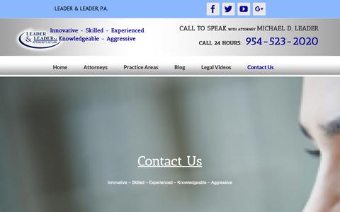 Screenshot of Contact Page leader-law.com - Contact Us | Leader & Leader, P.A. - captured Oct. 29, 2018