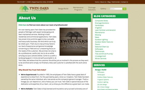 Screenshot of About Page twinoakslandscape.biz - Professional Landscaping and Lawn Care in Michigan | Lawn Mowing - captured Oct. 1, 2014