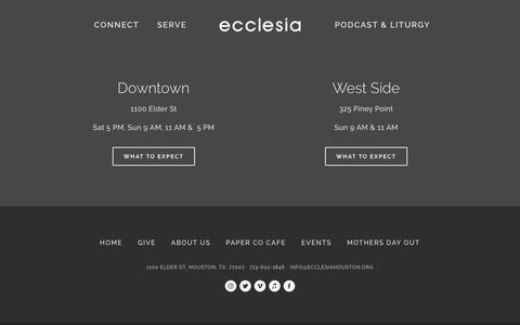 Screenshot of Home Page ecclesiahouston.org - Ecclesia Houston - captured Sept. 26, 2018