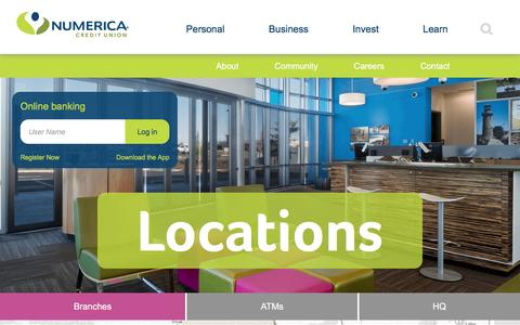 Screenshot of Locations Page numericacu.com - Locations   Numerica Credit Union - captured Nov. 20, 2016