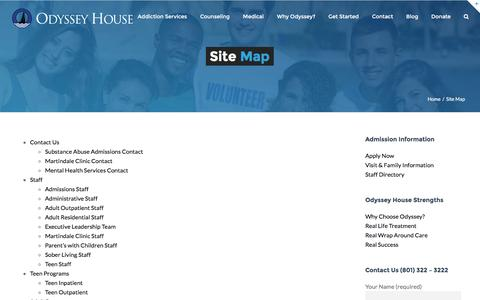 Screenshot of Site Map Page odysseyhouse.org - Site Map - Drug and Alcohol Rehabilitation Salt Lake City - Odyssey House - captured Dec. 6, 2016