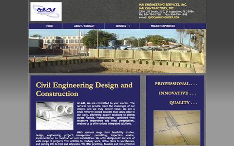 Screenshot of Home Page maiengineer.com - MAI Engineering Services Inc. - captured Oct. 3, 2014