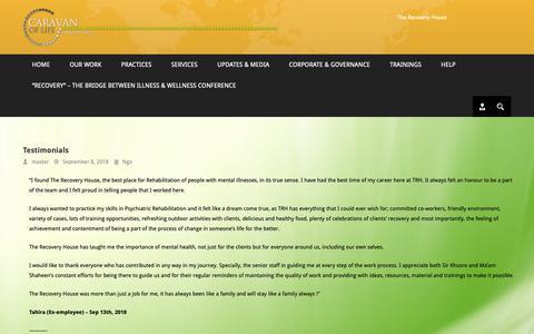Screenshot of Testimonials Page caravanoflifetrust.org - » Testimonials - captured Oct. 18, 2018