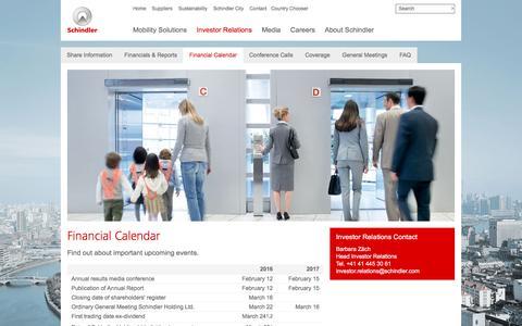 Screenshot of schindler.com - Financial Calendar - captured March 29, 2016