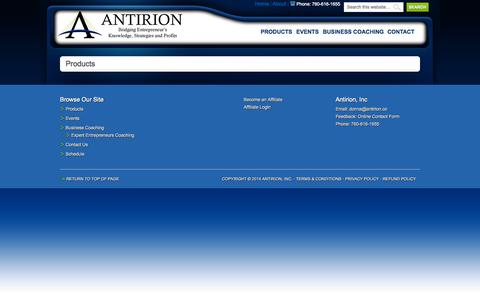 Screenshot of Products Page antirion.co - Products - captured Sept. 30, 2014