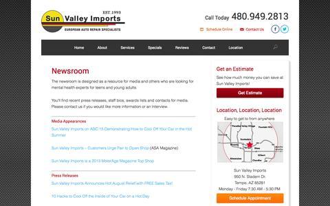 Screenshot of Press Page sunvalleyimports.com - Newsroom - captured Sept. 30, 2014