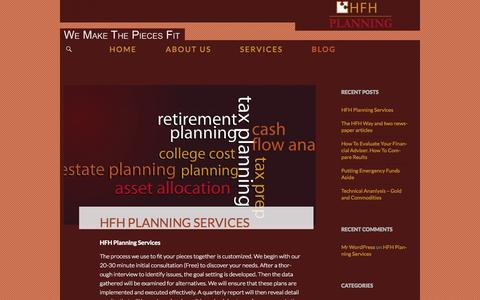 Screenshot of Blog hfhplanning.com - The Financial Planner | HFH Planning | We make sure the pieces fit - captured Oct. 1, 2014