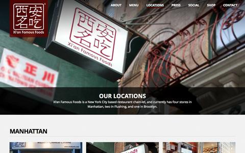 Screenshot of Locations Page xianfoods.com - Locations地址 - Xi'an Famous Foods - Specialty Chinese Restaurants in New York City - Liang Pi Cold-Skin Noodles, Spicy Cumin Lamb & Stewed Pork Burgers, Spicy & Tingly Beef Biang Biang Noodles - captured Oct. 31, 2014
