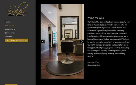 Screenshot of About Page salonatthedomain.com - The Salon at The Domain - captured Oct. 9, 2018