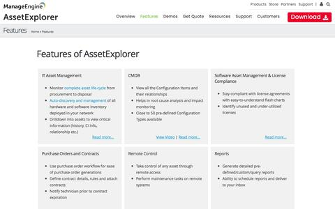 IT Asset Management Software Features - ManageEngine AssetExplorer