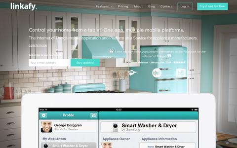 Screenshot of Home Page linkafy.com - Linkafy - The Internet of Things mobile application and Platform as a Service for appliance manufacturers - captured Sept. 30, 2014
