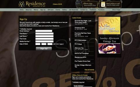 Screenshot of Signup Page residence.uk.com - Sign Up - Residence Restaurant & Bar - captured Oct. 26, 2014