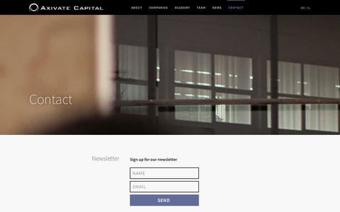 Screenshot of Contact Page axivate.com - Contact —         Axivate Capital - captured Sept. 23, 2014
