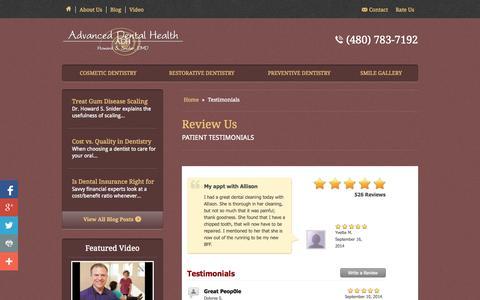 Screenshot of Testimonials Page adhaz.com - Patient Testimonials Phoenix - captured Oct. 4, 2014