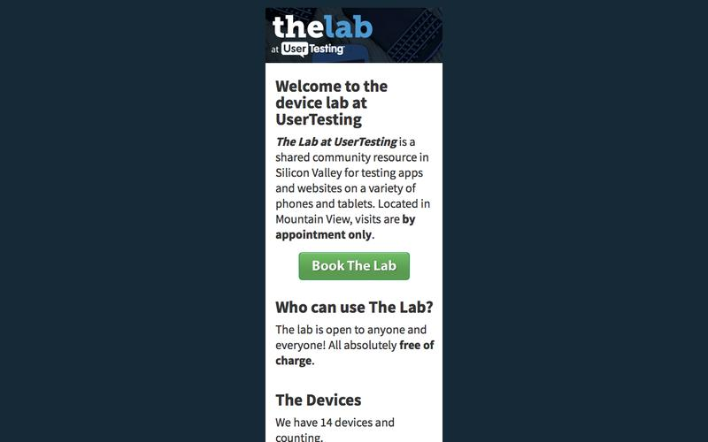 The Device Lab at UserTesting