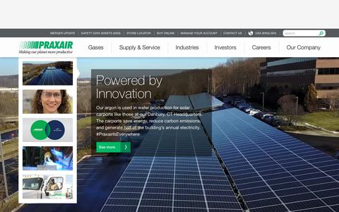 Screenshot of Home Page praxair.com - Industrial Gases, Supply, Equipment & Services | Praxair, Inc. - captured Oct. 14, 2018