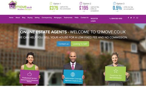 Screenshot of Home Page 121move.co.uk - Online Estate Agents | Sell Your Home From �375 - captured Jan. 10, 2016