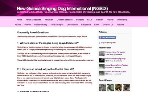 Screenshot of FAQ Page newguineasingingdoginternational.com - FAQs - New Guinea Singing Dog International (NGSDI) - captured June 20, 2016