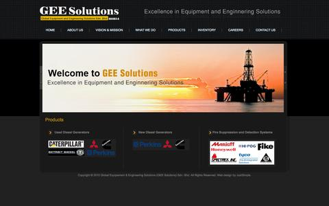 Screenshot of Products Page geesolns.com - Global Equipment & Engineering Solutions (GEE Solutions) Sdn Bhd - captured Oct. 3, 2014