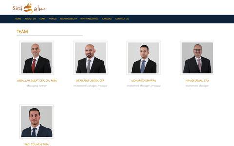 Screenshot of Team Page siraj.ps - Siraj - Team - captured Oct. 19, 2018