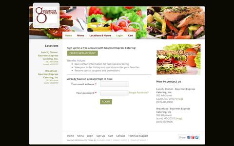 Screenshot of Login Page ehungry.com - Gourmet Express Catering | Login - captured Oct. 24, 2018