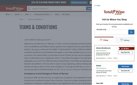 Screenshot of Terms Page totalwine.com - Terms & Conditions - captured June 21, 2019