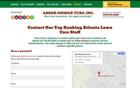 Screenshot of Contact Page arbor-nomics.com - Contact Our Top Ranking Atlanta Lawn Care Staff | Arbor-Nomics - captured Jan. 23, 2018