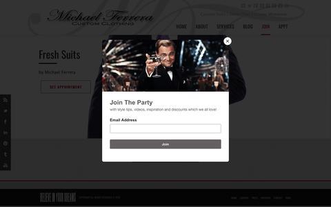 Screenshot of Signup Page michaelferrera.com - Michael Ferrera The Brand | Bespoke Suits | Custom Shirts  | Join - captured Oct. 18, 2018