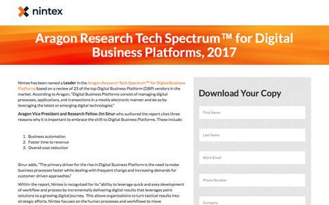 Screenshot of Landing Page nintex.com - Aragon Research Tech Spectrum™ for Digital Business Platforms, 2017 - captured Sept. 21, 2018