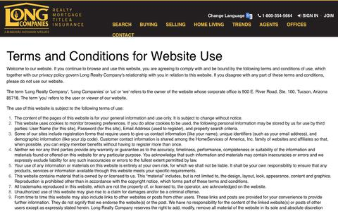 Screenshot of Terms Page longrealty.com - Terms of Use - captured Sept. 22, 2018