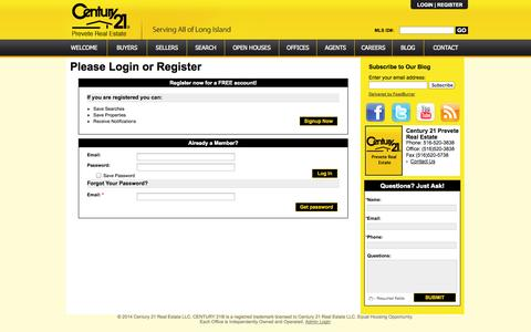 Screenshot of Login Page century21prevete.com - My Account SignUp - captured Oct. 2, 2014
