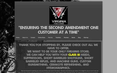 Screenshot of Home Page va-firearms.com - Virginia Firearms main page. - captured Oct. 1, 2014