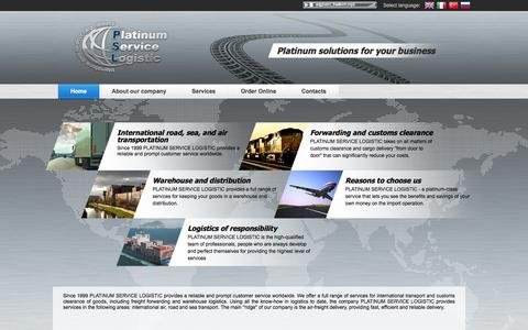 Screenshot of Home Page pslogistic.eu - Platinum solutions  for your business - captured Oct. 2, 2014