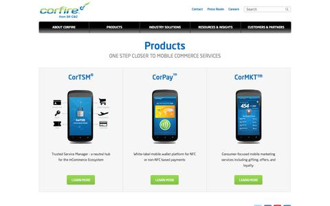 Screenshot of Products Page corfire.com - Mobile Commerce Services | CorFire - captured Oct. 3, 2014
