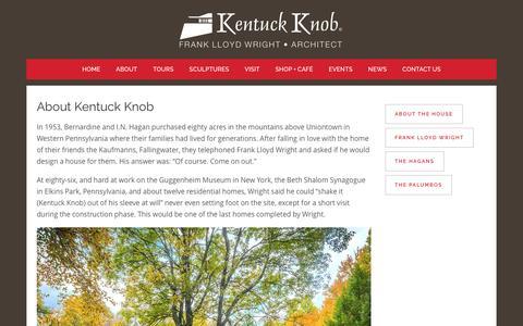 Screenshot of About Page kentuckknob.com - Kentuck Knob |   About - captured Feb. 10, 2016