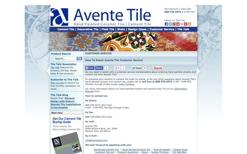 Screenshot of Support Page aventetile.com - Ceramic and Cement Tile Customer Service   Avente Tile - captured Sept. 30, 2014