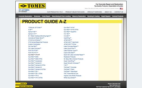 Screenshot of Products Page jetomes.com - JE Tomes  |   Our Products A to Z - captured Oct. 3, 2014