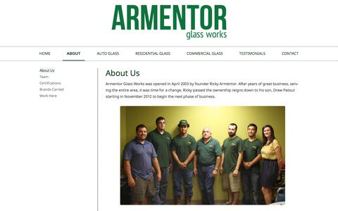 Screenshot of About Page armentorglass.com - How did we get started in the glass business anyway? - captured Oct. 4, 2014