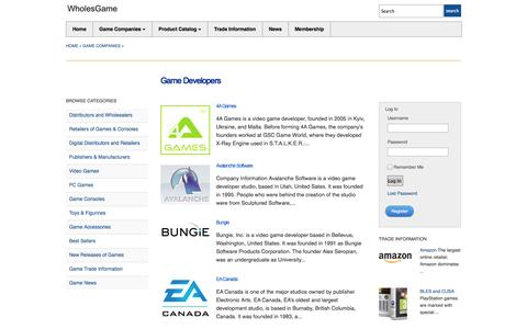 Screenshot of Developers Page wholesgame.com - Developers of PC and Video Games - captured Oct. 26, 2014