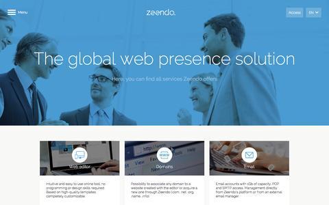 Screenshot of Services Page zeendo.com - Zeendo - captured Jan. 12, 2016