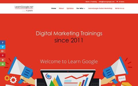 Screenshot of Home Page learngoogle.net - Learn Google | Digital Media Marketing Excellence - captured April 24, 2018