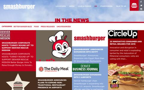Screenshot of Press Page smashburger.com - In The News - Smashburger - captured Dec. 1, 2015