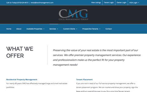 Screenshot of Services Page cecilmanagement.com - Services | Cecil Management Group - captured July 22, 2017