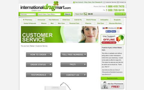 Screenshot of Support Page internationaldrugmart.com - Customer Service/Support Of Our Online Pharmacy - International Drug Mart - captured Sept. 22, 2014